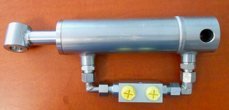 Vérin hydraulique inox avec clapets pilotés doubles