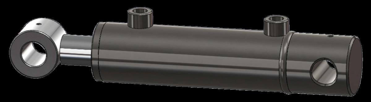 Vérin hydraulique acier avec fond percé et tenon en bout de tige