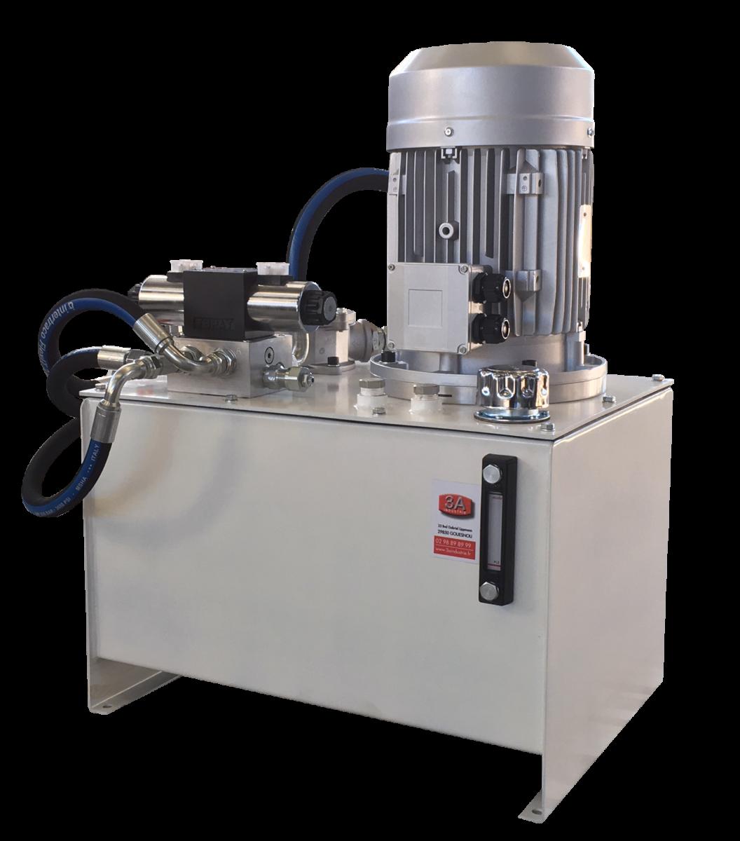 3a industrie, Centrale hydraulique avec réservoir 80 l. Equipée d'un diviseur de débit, étrangleur unidirectionnel de débit